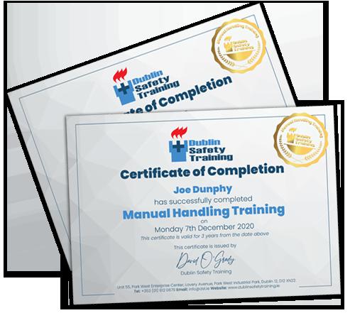 manual handling certificate dst